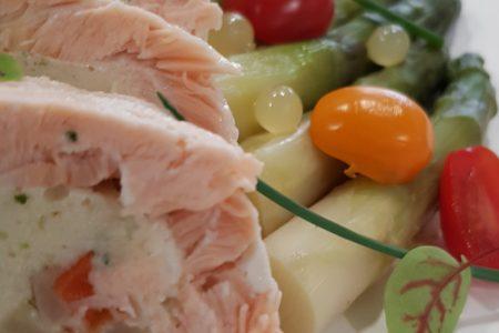Ballotine de saumon et cabillaud aux petits légumes